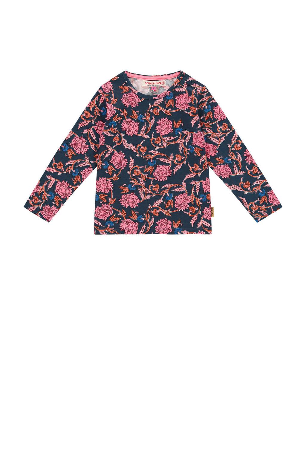 Vingino longsleeve Jeika mini met all over print donkerblauw/roze, Donkerblauw/roze