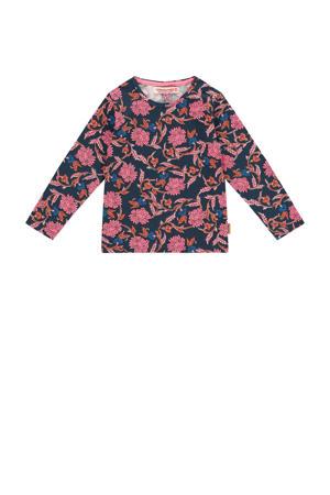 longsleeve Jeika mini met all over print donkerblauw/roze