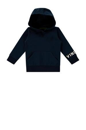 hoodie Nevin mini met tekst donkerblauw