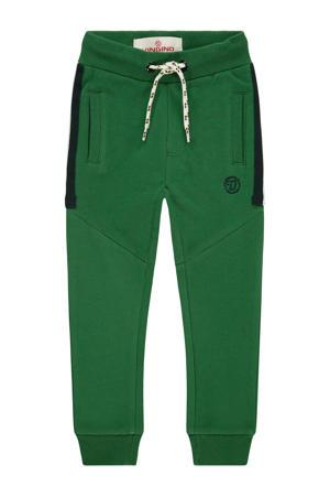 slim fit joggingbroek Sako mini met tekst groen