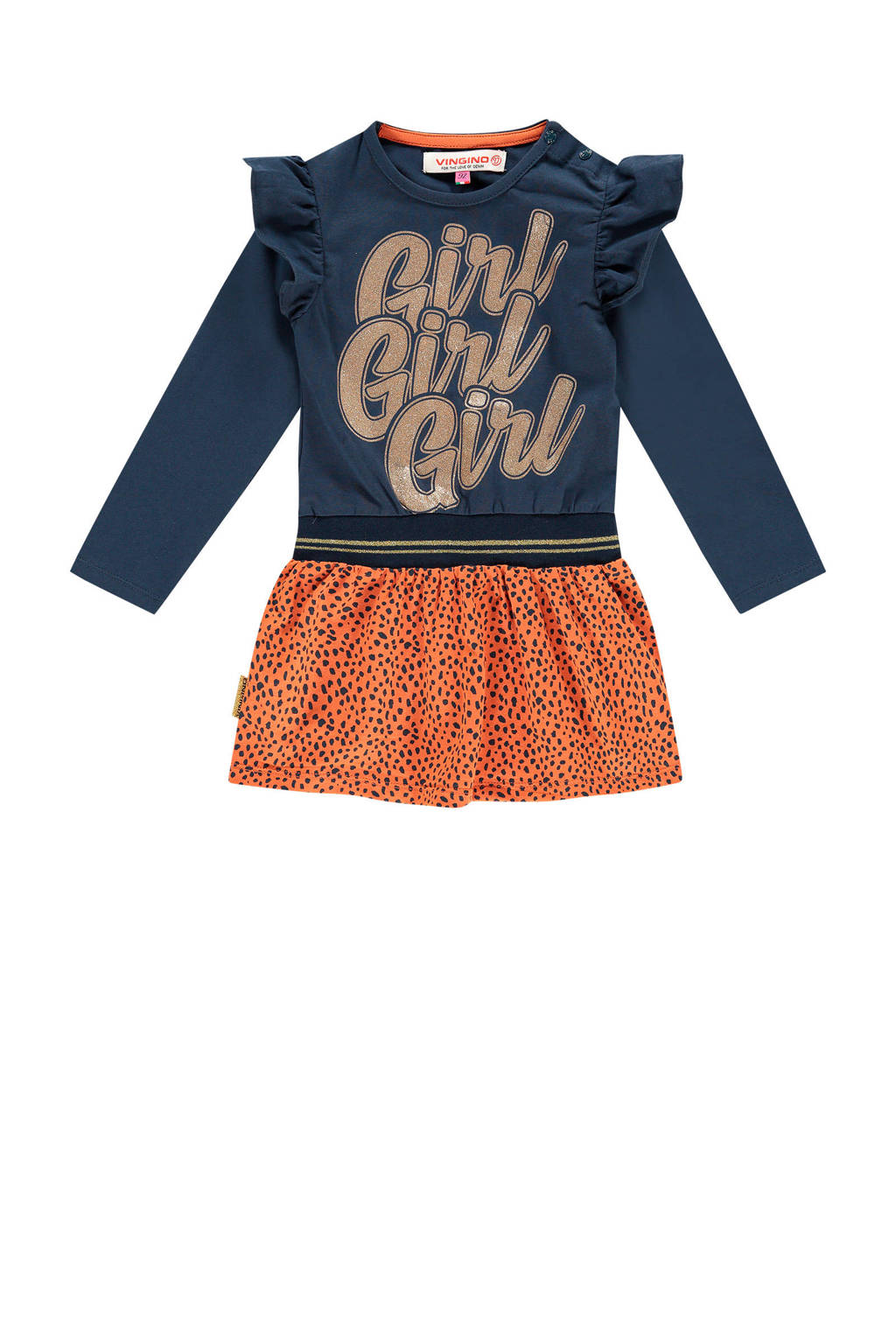 Vingino jurk Ploy mini met tekst en glitters roestbruin/donkerblauw, Roestbruin/donkerblauw