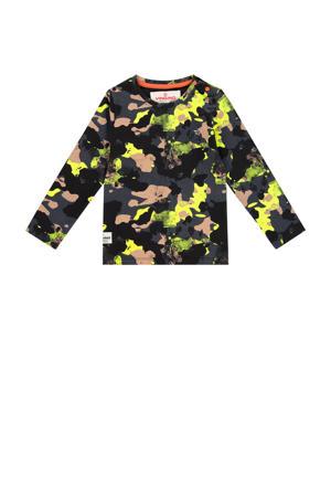 longsleeve Jonne mini met camouflageprint donkerblauw/geel