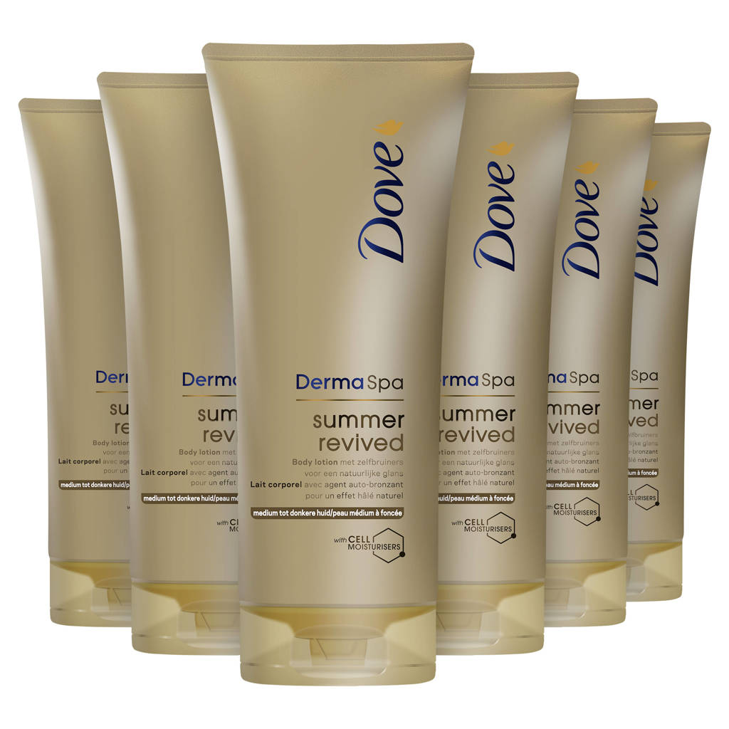 Dove DermaSpa Summer Revived Dark body lotion - 6 x 200 ml