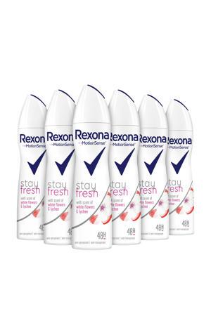 Women Stay Fresh White Flower & Lychee anti-transpirant spray - 6 x 150 ml