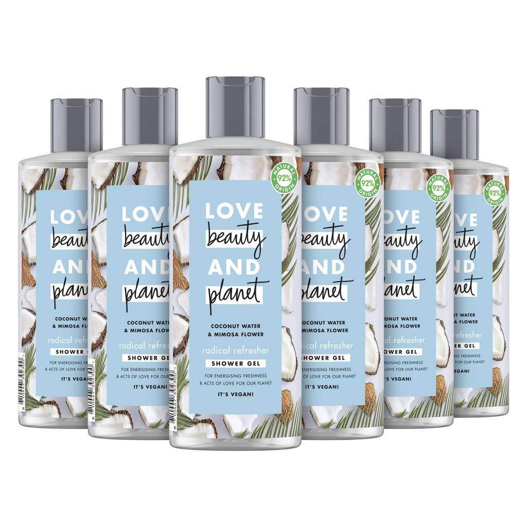Love Beauty and Planet Coconut Water & Mimosa Flower Radical Refresher showergel - 6 x 500 ml