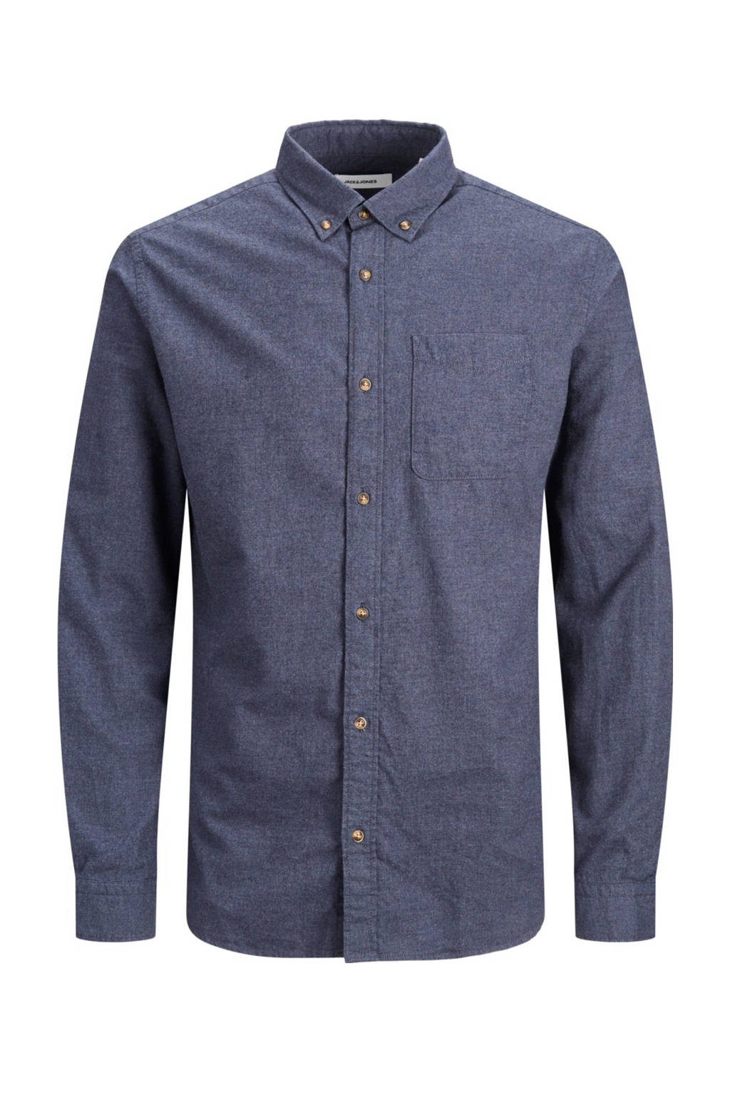 JACK & JONES PLUS SIZE gemêleerd regular fit overhemd donkerblauw, Donkerblauw