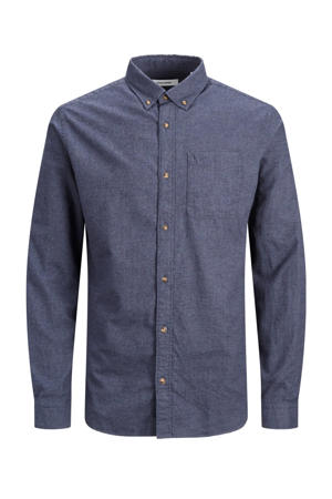 gemêleerd regular fit overhemd donkerblauw