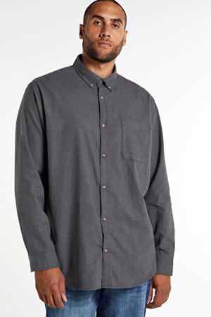gemêleerd regular fit overhemd donkergrijs