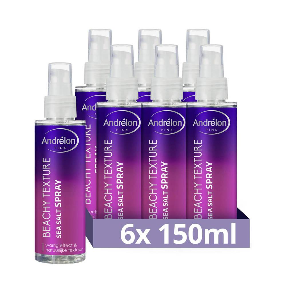 Andrelon Pink Collection Beachy Texture Sea Salt haarspray - 6 x 150 ml