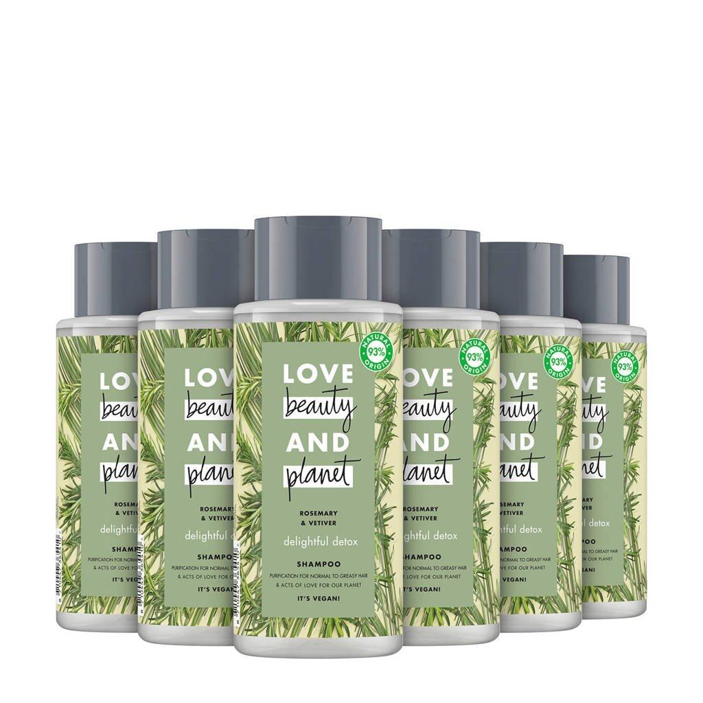 Love Beauty and Planet Rosemary & Vetiver Delightful Detox shampoo - 6 x 400 ml