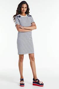 Superdry gestreepte jersey jurk wit/blauw, Wit/blauw