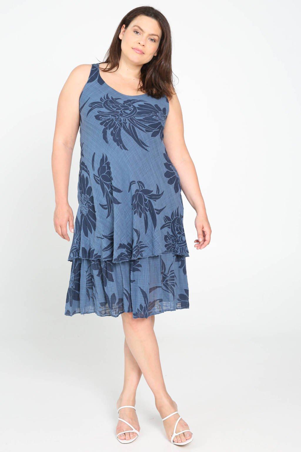 Paprika jurk met all over print en volant blauw, Blauw