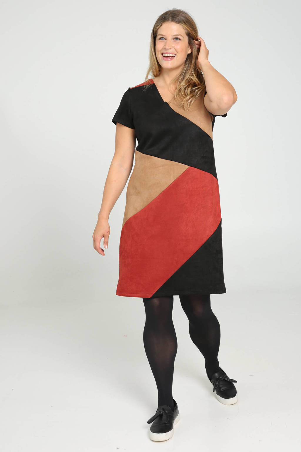 Paprika jurk zwart/rood/camel, Zwart/rood/camel