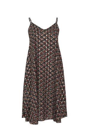 jurk met all over print zwart/wit/rood