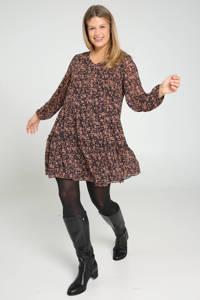 Paprika semi-transparante jurk met all over print en ruches zwart/bruin, Zwart/bruin