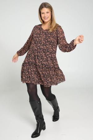 semi-transparante jurk met all over print en ruches zwart/bruin