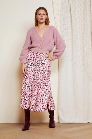 rok Megan Lou met all over print roze/beige