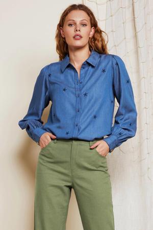 blouse Dina met sterren en borduursels blauw