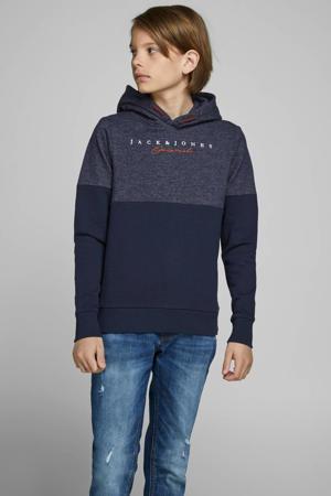 hoodie Jort met tekst donkerblauw/oranje