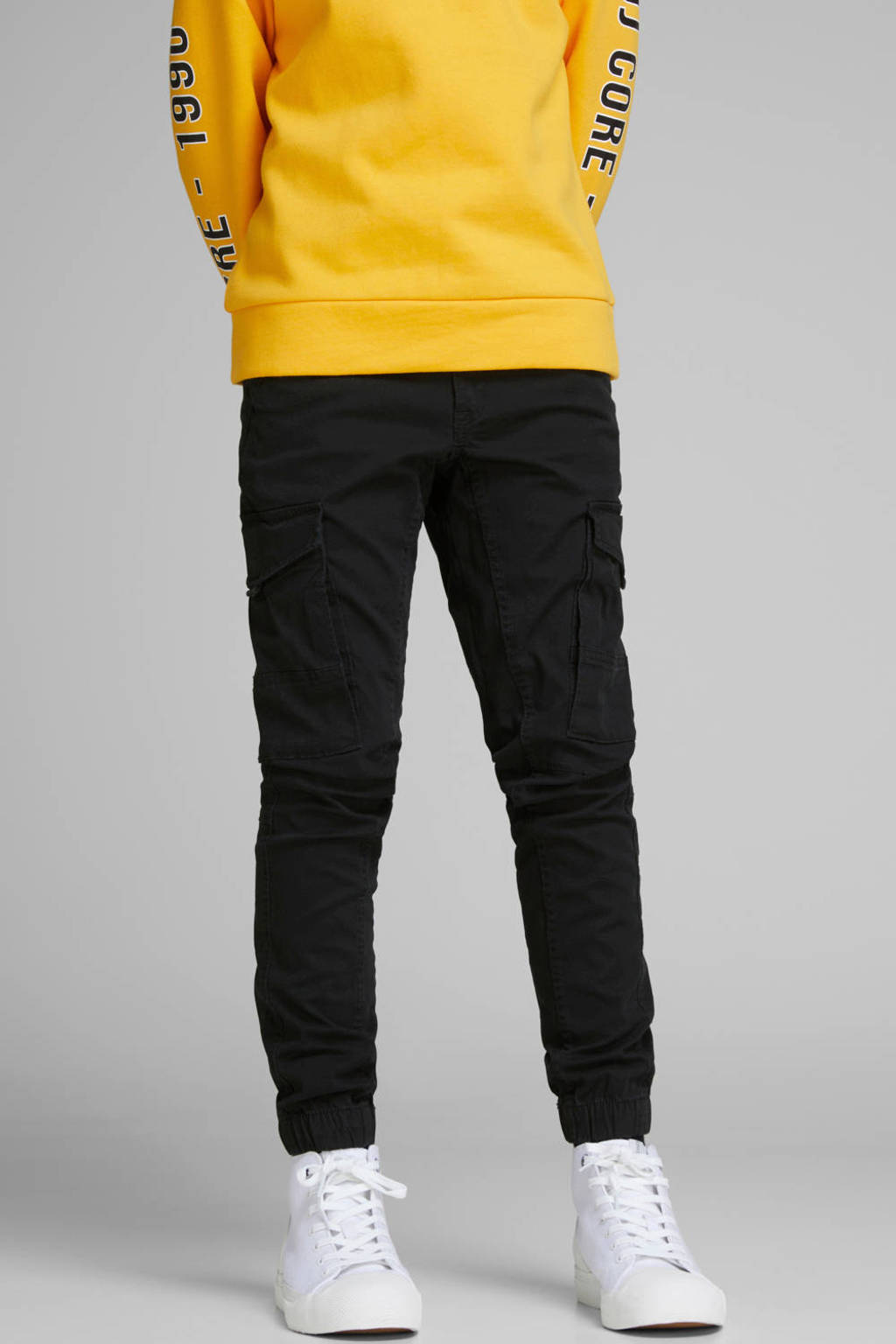 JACK & JONES JUNIOR cargo broek Paul zwart, Zwart