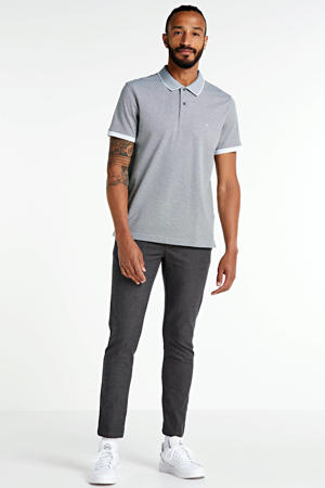 geruite regular fit chino antraciet