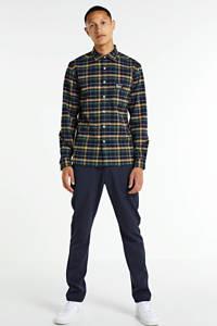 Redefined Rebel geruit regular fit overhemd Colby donkerblauw/groen/geel, Donkerblauw/groen/geel