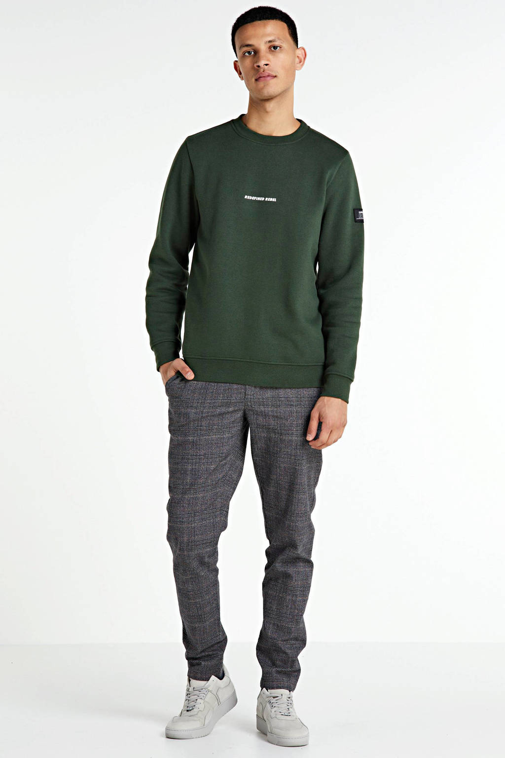 Redefined Rebel sweater met tekst donkergroen, Donkergroen