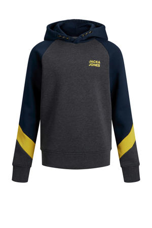 hoodie Poul donkerblauw/antraciet/geel