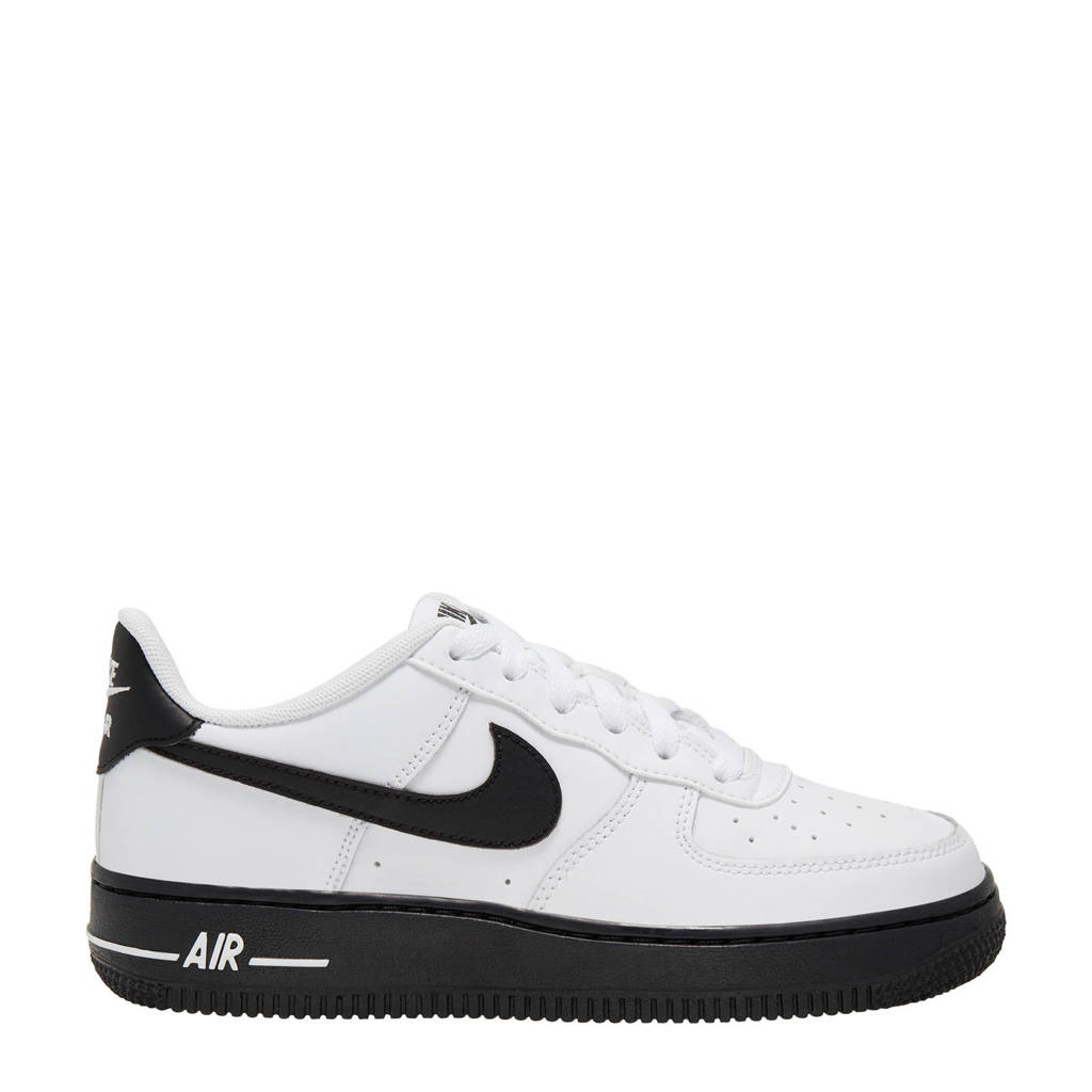 Nike   Air Force 1 leren sneakers wit/zwart, Wit/zwart
