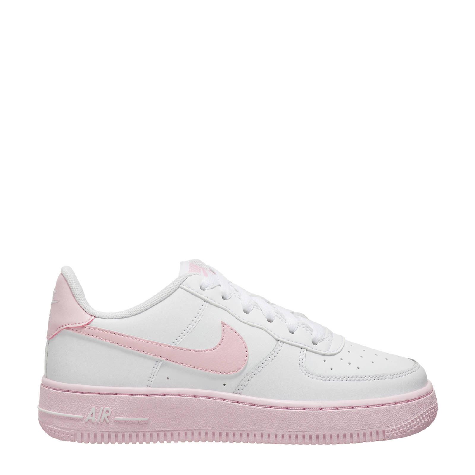 Air Force 1 leren sneakers wit/roze