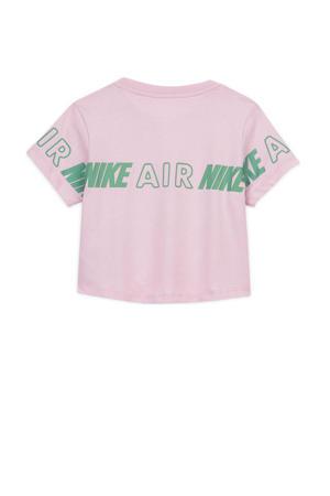 cropped T-shirt roze/groen