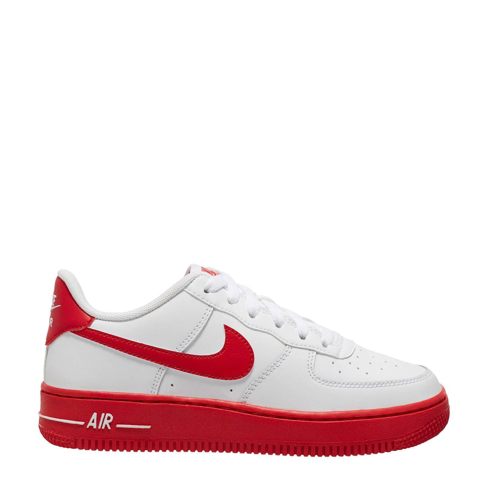 Nike Air Force 1 leren sneakers wit/rood | wehkamp