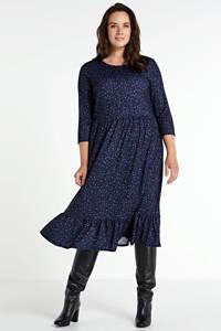 Simply Be jurk met panterprint en volant marine, Marine