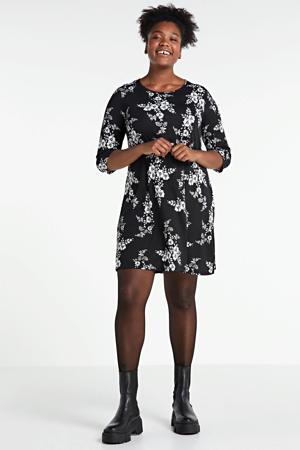 gebloemde A-lijn jurk zwart/wit