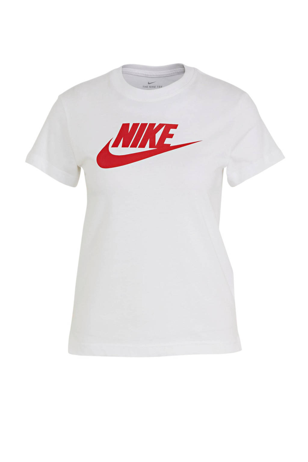 Nike T-shirt wit/rood, Wit/rood