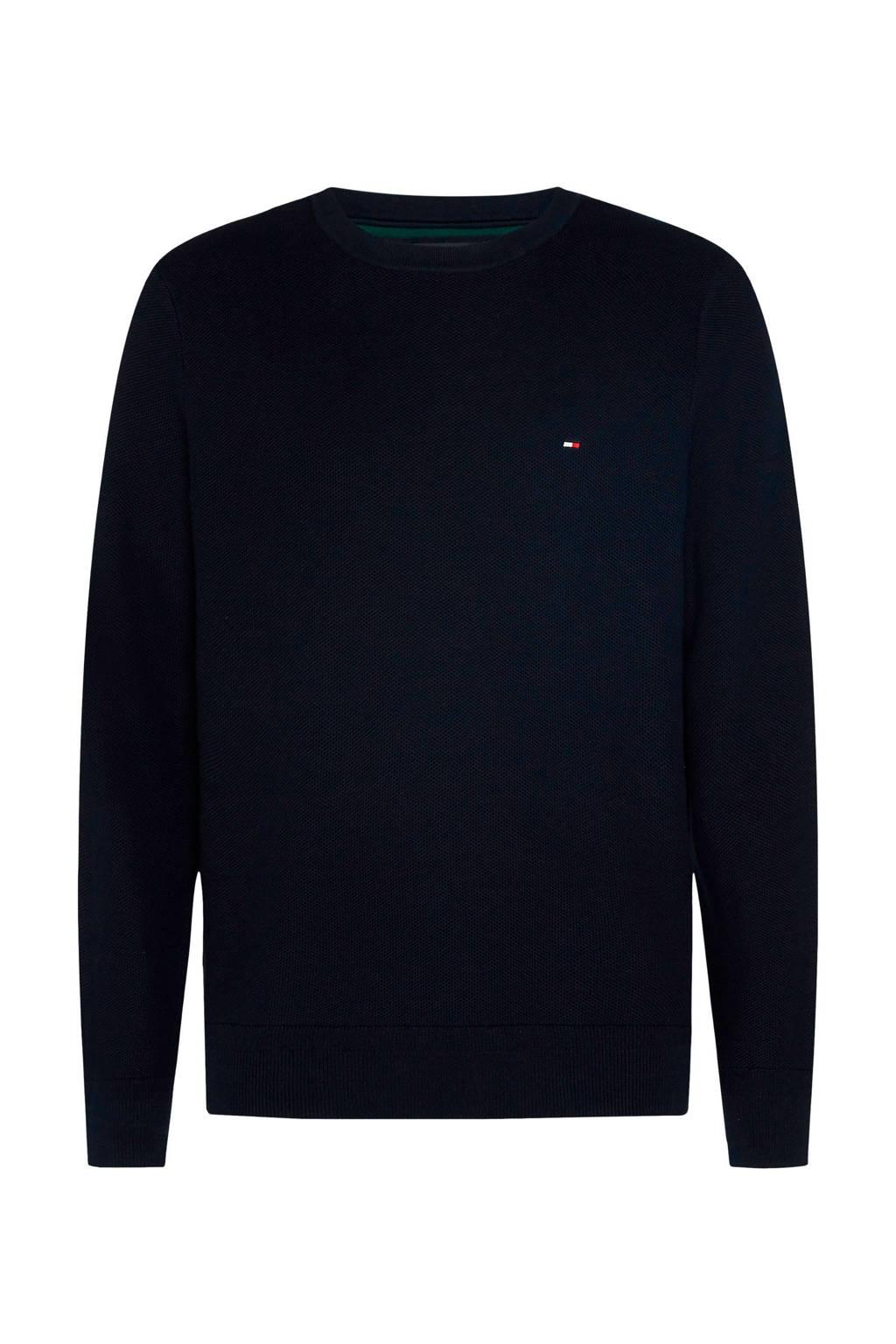Tommy Hilfiger Big & Tall +size fijngebreide trui van biologisch katoen donkerblauw, Donkerblauw