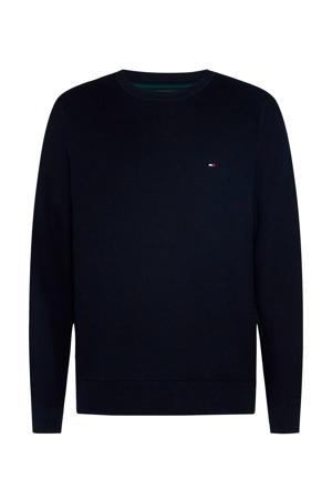 +size fijngebreide trui van biologisch katoen donkerblauw