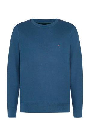 +size fijngebreide trui van biologisch katoen blauw