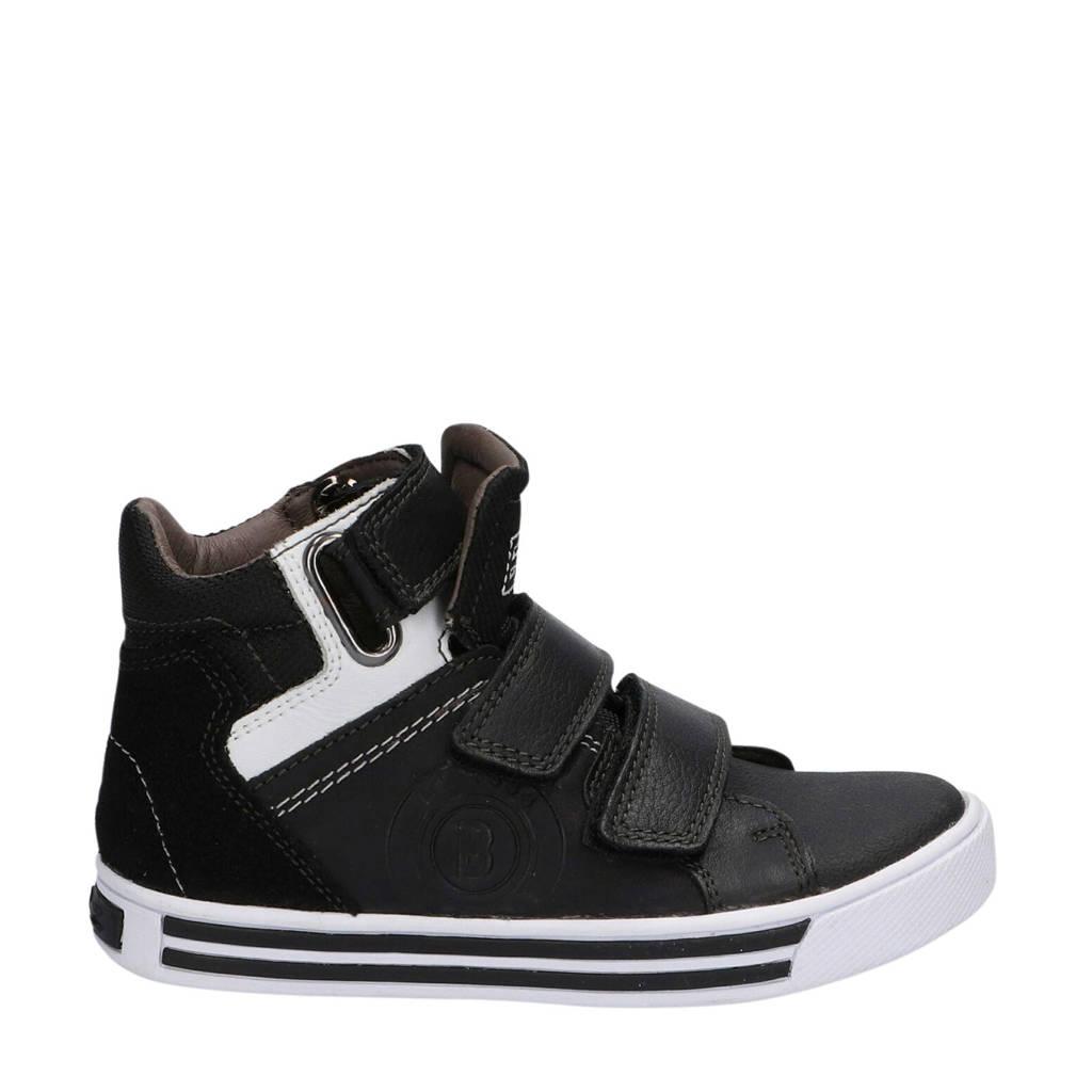 Braqeez Dex Day  hoge leren sneakers zwart, Zwart/wit