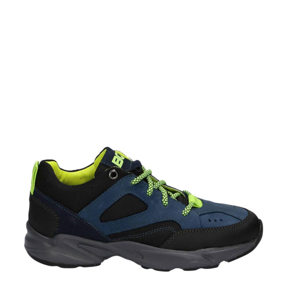 Braqeez Finn Fit  leren sneakers blauw/geel, Blauw/geel/zwart