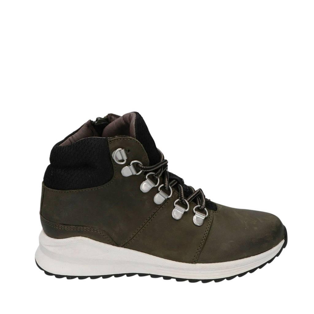 Braqeez Tommy Tim  hoge leren sneakers donkergroen, Donkergroen/zwart