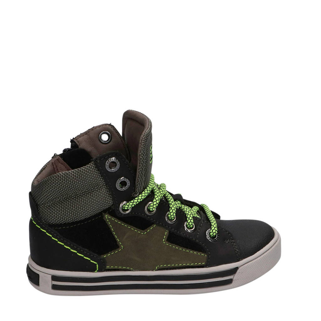 Braqeez Dylan Day  hoge leren sneakers zwart/groen, Zwart/kaki