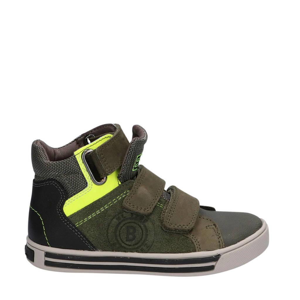 Braqeez Dex Day  hoge leren sneakers kaki, Groen/Kaki