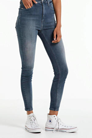 cropped high waist super skinny jeans blue grey