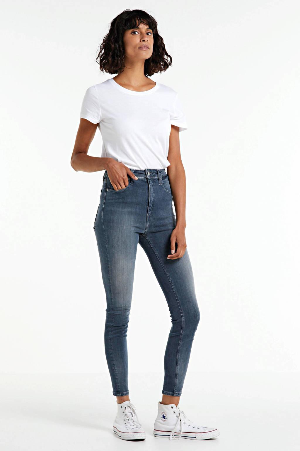 CALVIN KLEIN JEANS cropped high waist super skinny jeans blue grey, Blue Grey