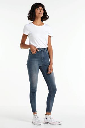cropped high waist super skinny jeans blue grey