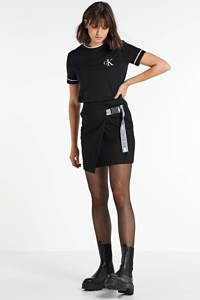 CALVIN KLEIN JEANS rok Buckle logo strap zwart, Zwart