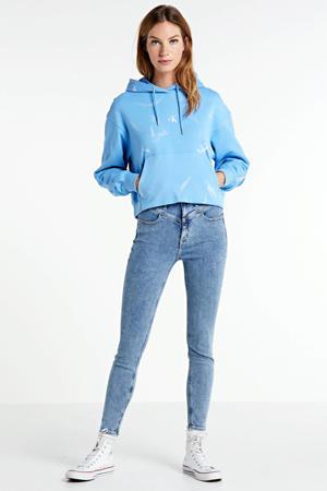 cropped high waist super skinny jeans light blue yoke