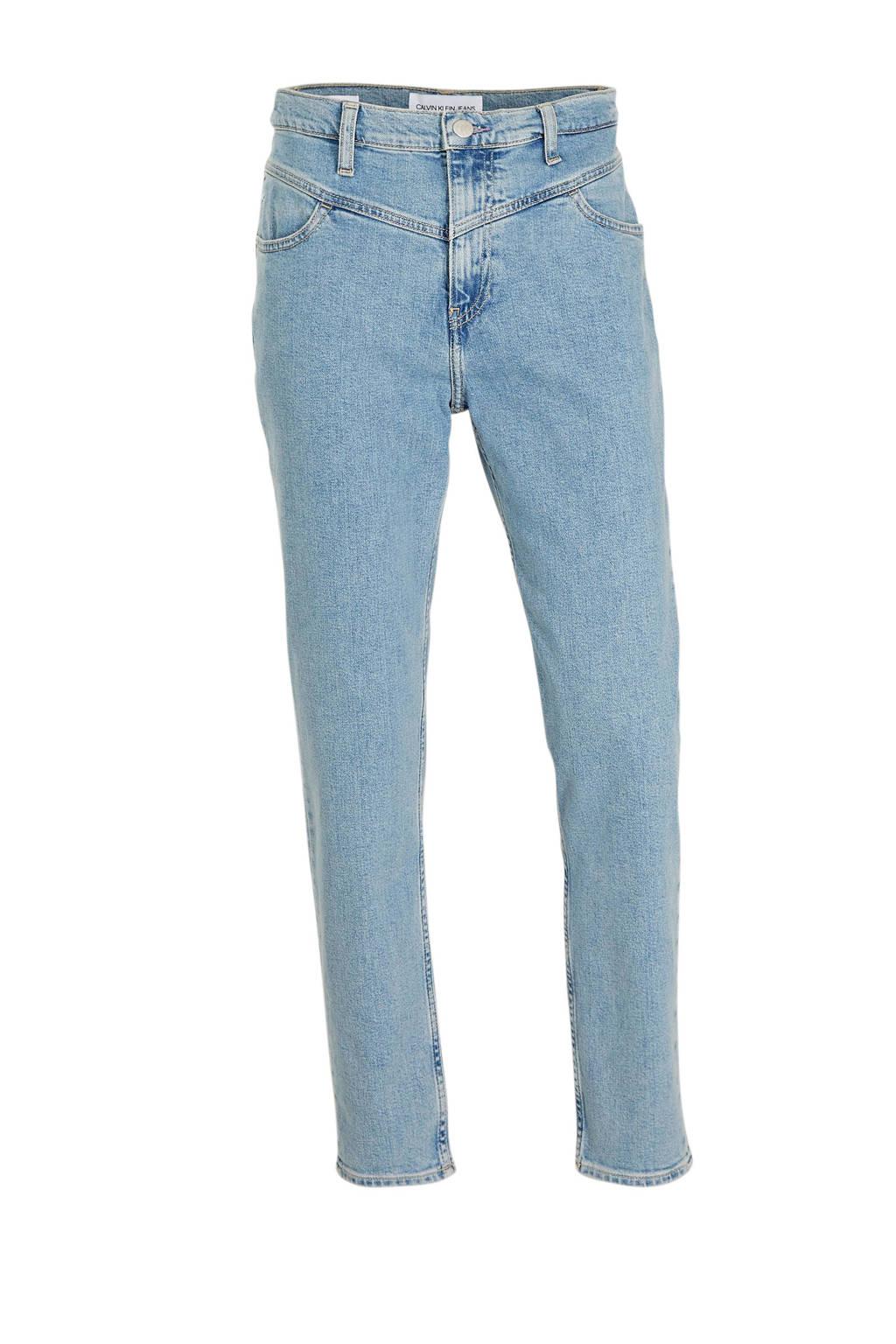 CALVIN KLEIN JEANS high waist mom jeans light blue yoke, Light blue yoke
