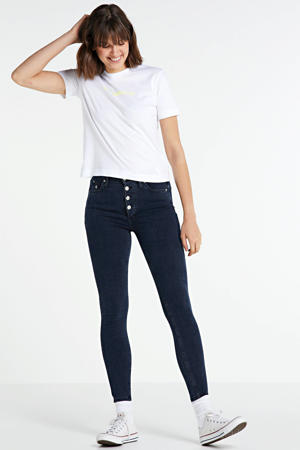 high waist super skinny jeans blue black shank